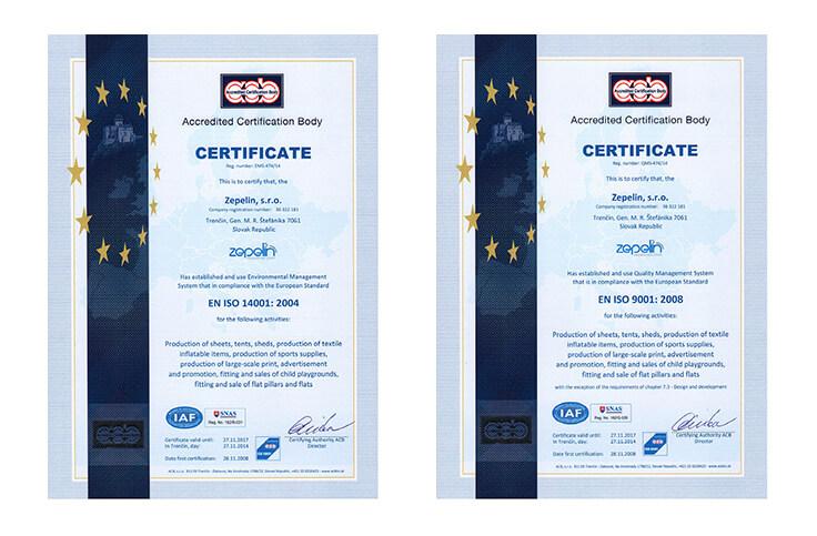 Certificari AXION - Produse gonflabile si pneumatice pentru evenimente