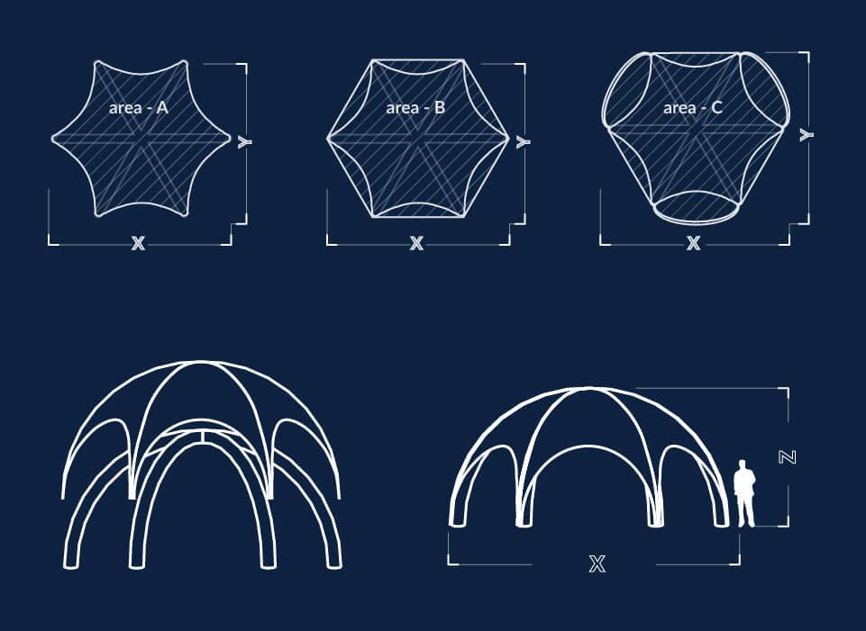 Dimensiuni cort spider Axion Spider